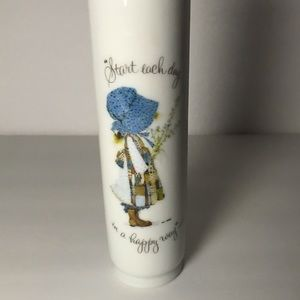 Holly Hobbie Milk Glass Vase